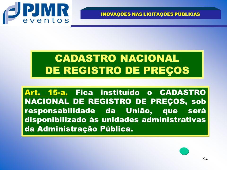 CADASTRO NACIONAL DE REGISTRO DE PREÇOS