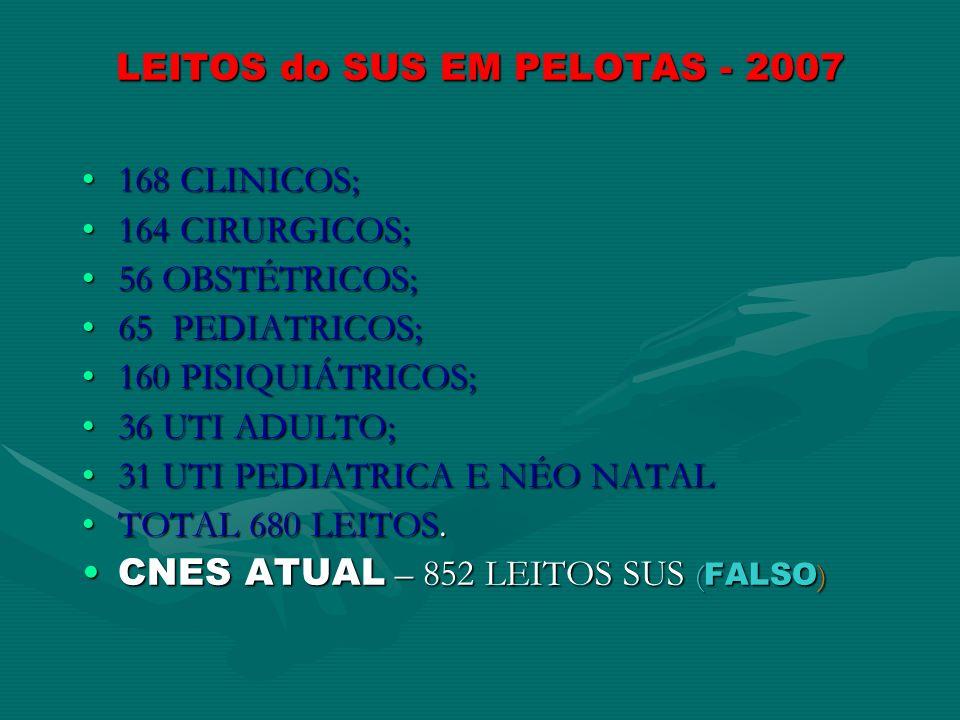 LEITOS do SUS EM PELOTAS - 2007