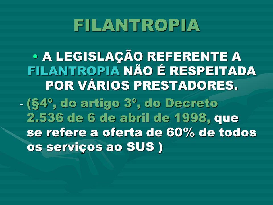FILANTROPIA A LEGISLAÇÃO REFERENTE A FILANTROPIA NÃO É RESPEITADA POR VÁRIOS PRESTADORES.