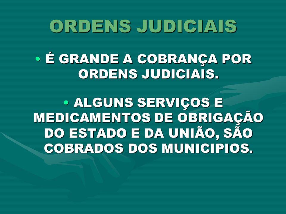 É GRANDE A COBRANÇA POR ORDENS JUDICIAIS.