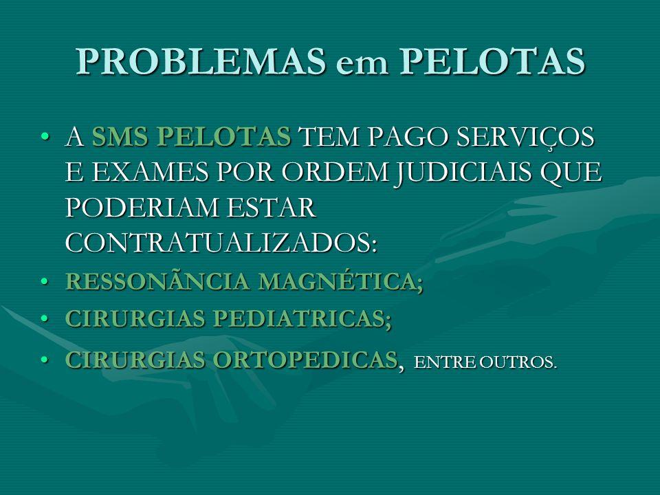 PROBLEMAS em PELOTAS A SMS PELOTAS TEM PAGO SERVIÇOS E EXAMES POR ORDEM JUDICIAIS QUE PODERIAM ESTAR CONTRATUALIZADOS: