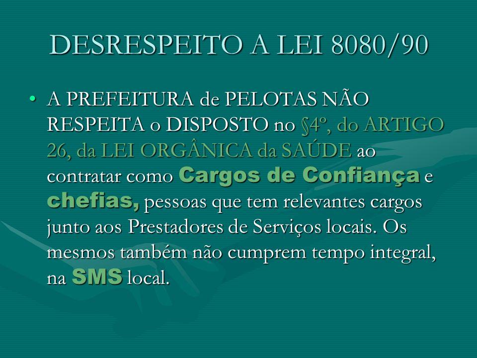 DESRESPEITO A LEI 8080/90