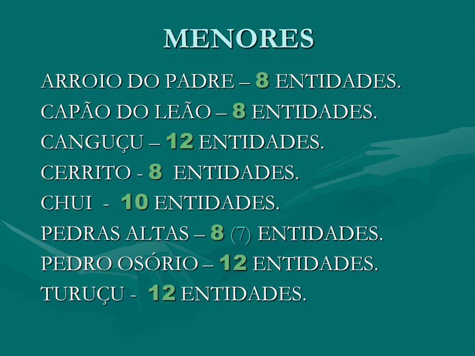 MENORES ARROIO DO PADRE – 8 ENTIDADES. CAPÃO DO LEÃO – 8 ENTIDADES.