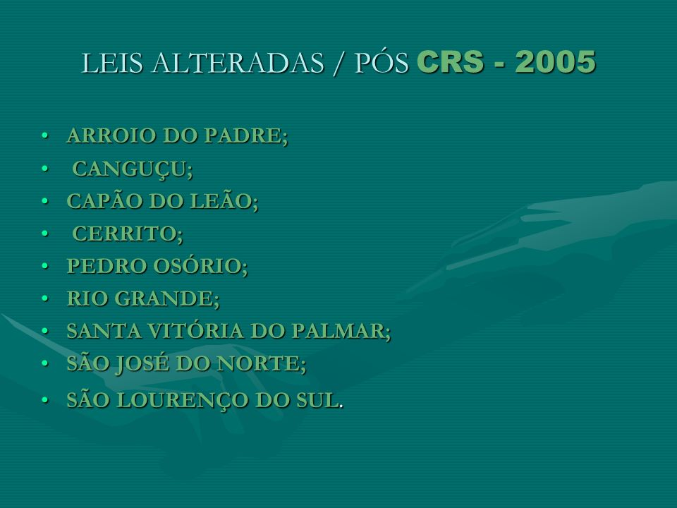 LEIS ALTERADAS / PÓS CRS - 2005
