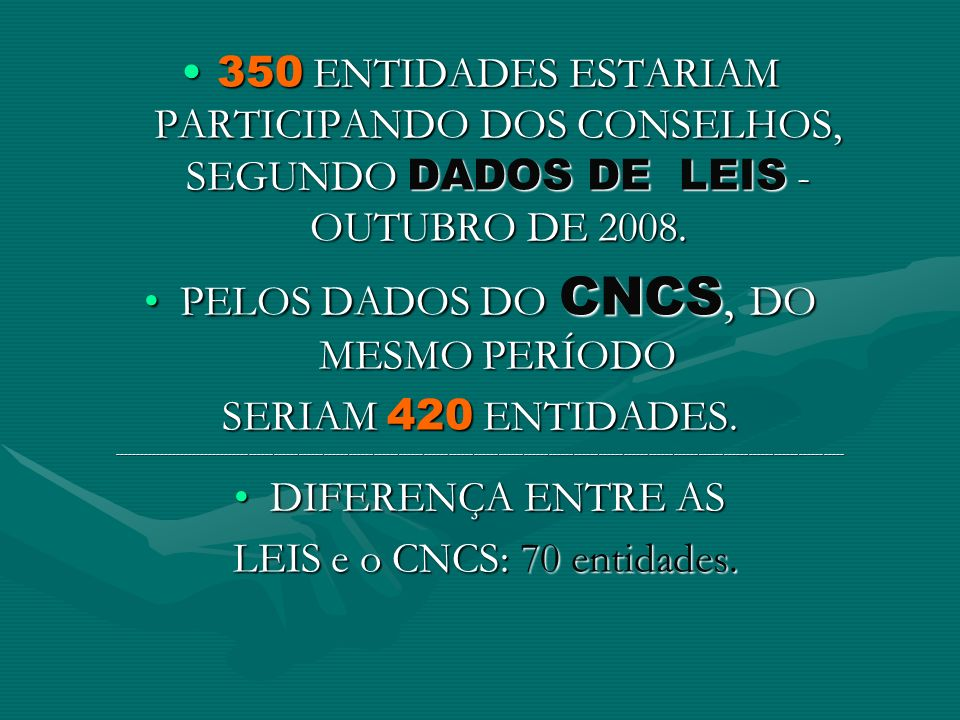 PELOS DADOS DO CNCS, DO MESMO PERÍODO