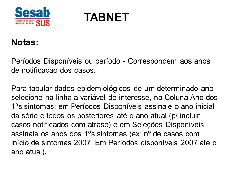 TABNET Notas: