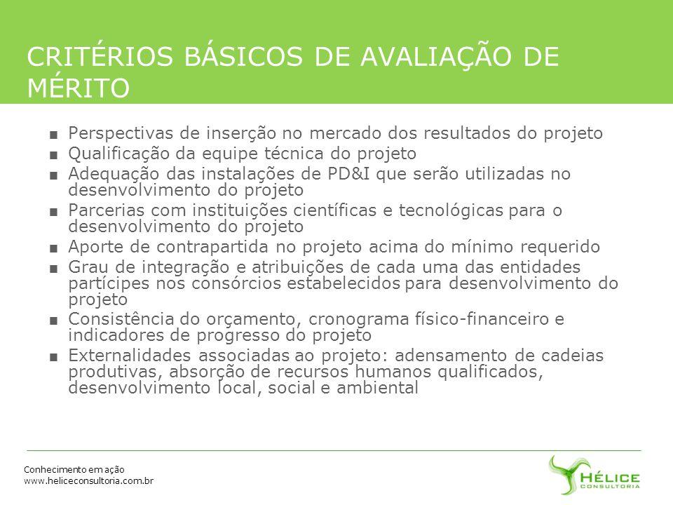 CRITÉRIOS BÁSICOS DE AVALIAÇÃO DE MÉRITO