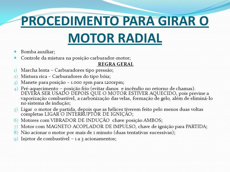 PROCEDIMENTO PARA GIRAR O MOTOR RADIAL
