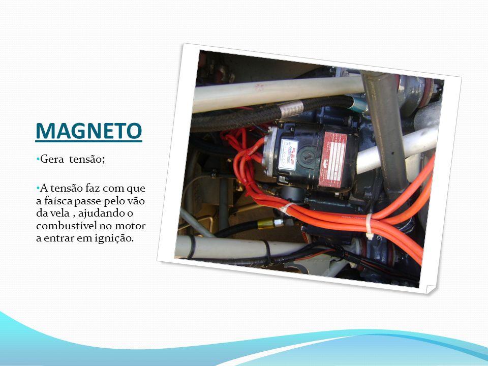 MAGNETO Gera tensão; A tensão faz com que a faísca passe pelo vão da vela , ajudando o combustível no motor a entrar em ignição.