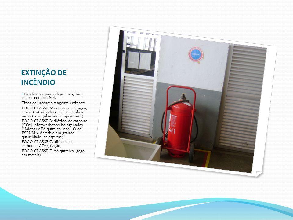 EXTINÇÃO DE INCÊNDIO Três fatores para o fogo: oxigênio, calor e combustível: Tipos de incêndio x agente extintor: