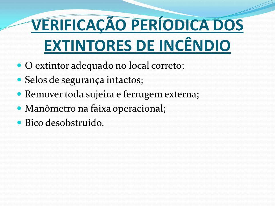 VERIFICAÇÃO PERÍODICA DOS EXTINTORES DE INCÊNDIO