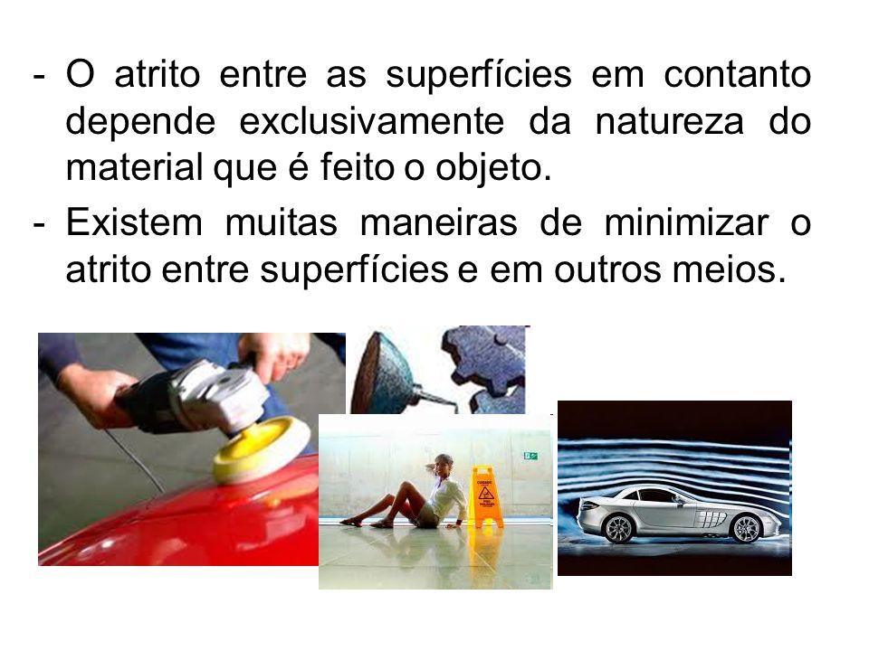 O atrito entre as superfícies em contanto depende exclusivamente da natureza do material que é feito o objeto.