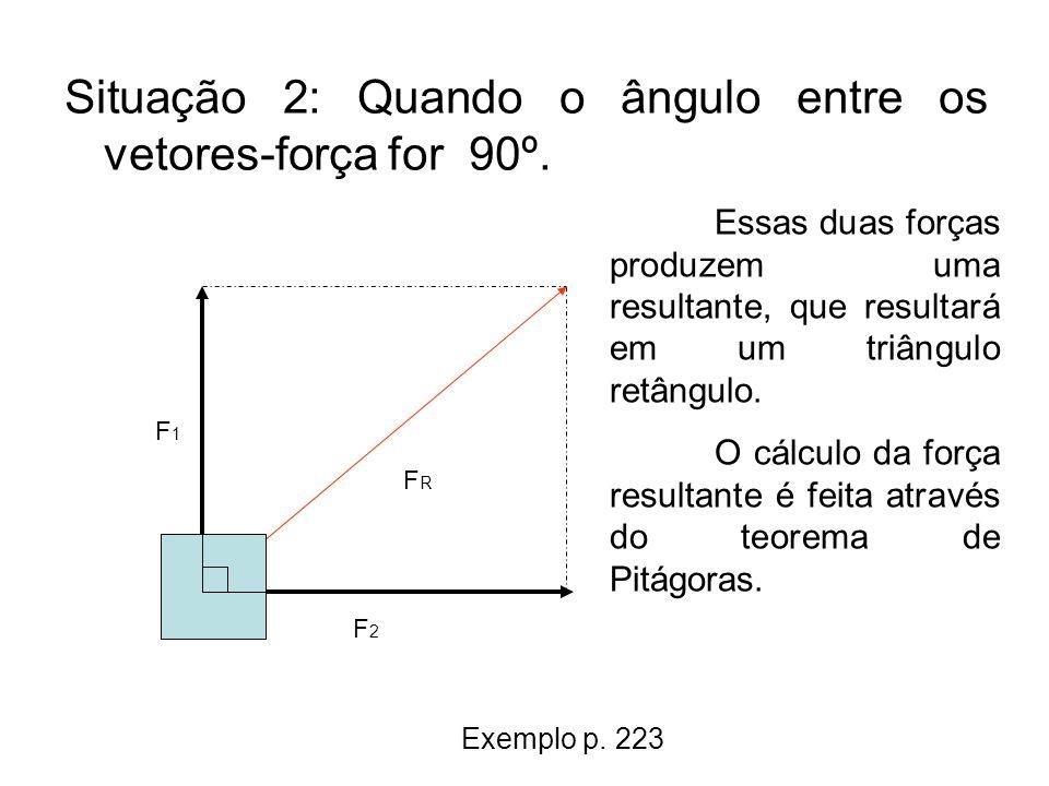 Situação 2: Quando o ângulo entre os vetores-força for 90º.
