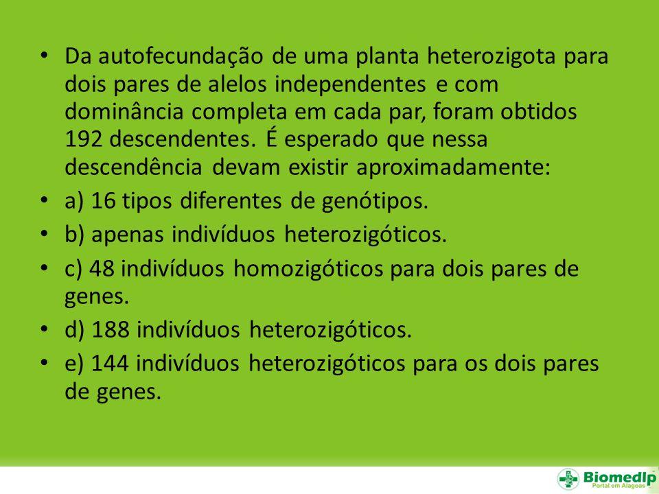 Da autofecundação de uma planta heterozigota para dois pares de alelos independentes e com dominância completa em cada par, foram obtidos 192 descendentes. É esperado que nessa descendência devam existir aproximadamente: