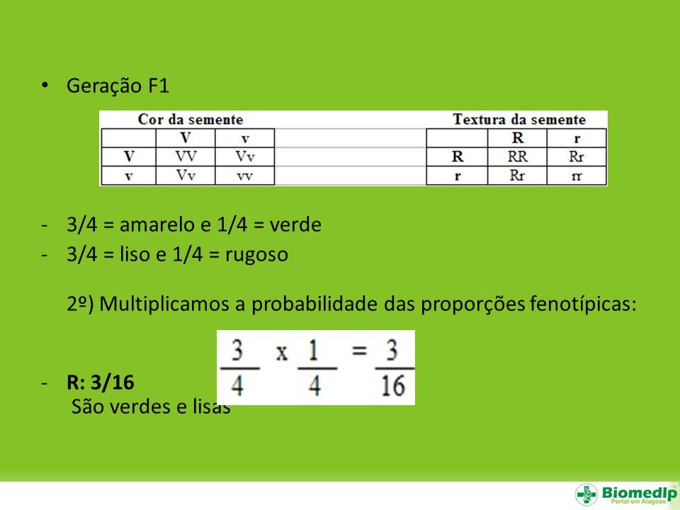 Geração F1 3/4 = amarelo e 1/4 = verde. 3/4 = liso e 1/4 = rugoso 2º) Multiplicamos a probabilidade das proporções fenotípicas: