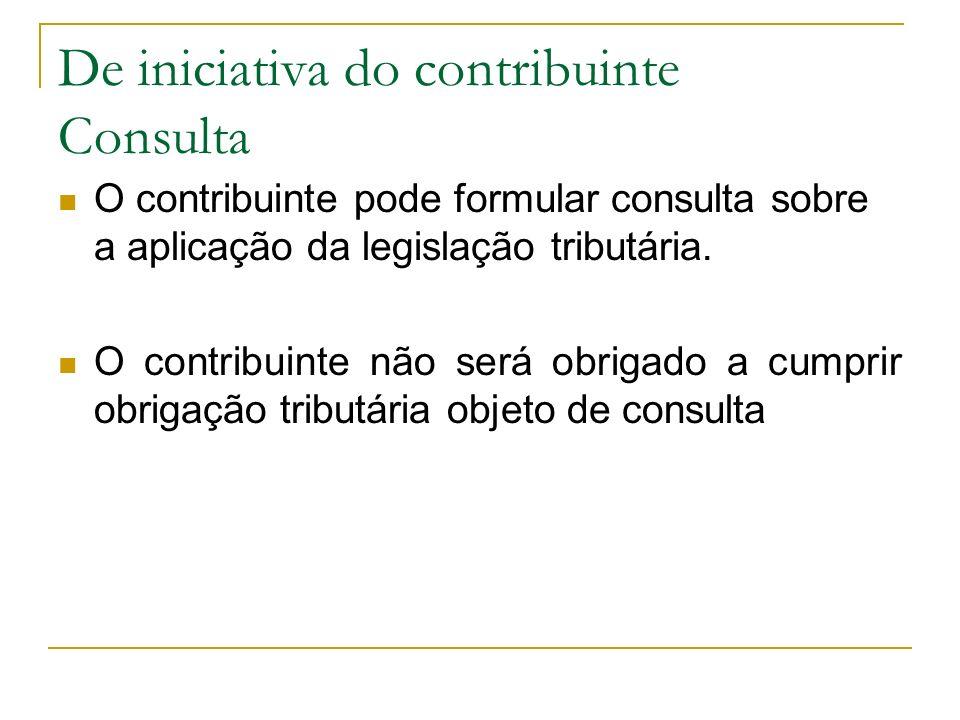 De iniciativa do contribuinte Consulta