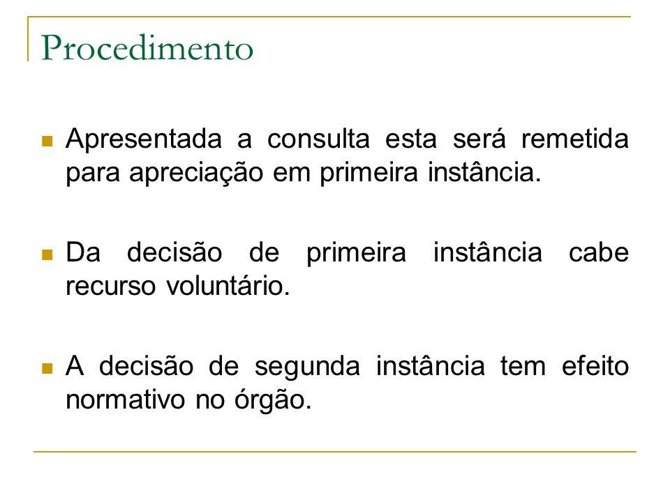 Procedimento Apresentada a consulta esta será remetida para apreciação em primeira instância.