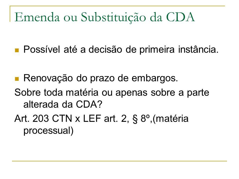 Emenda ou Substituição da CDA