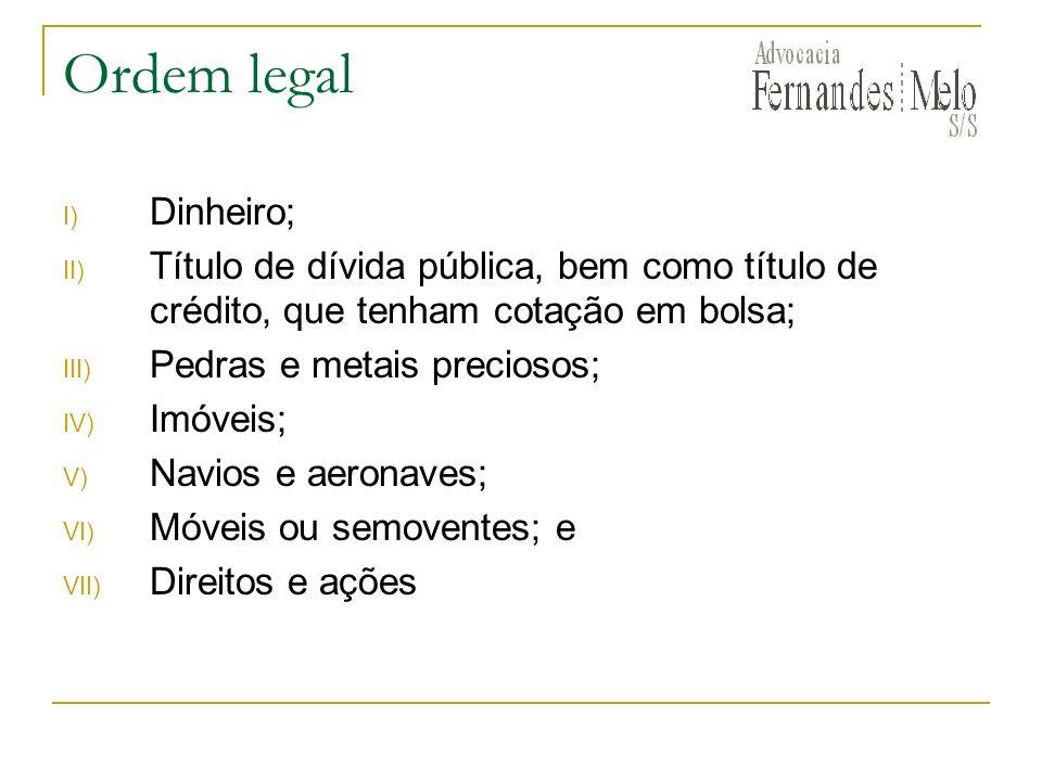 Ordem legal Dinheiro; Título de dívida pública, bem como título de crédito, que tenham cotação em bolsa;