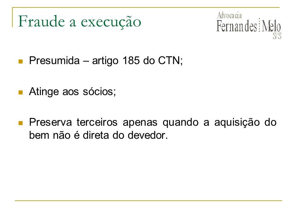 Fraude a execução Presumida – artigo 185 do CTN; Atinge aos sócios;
