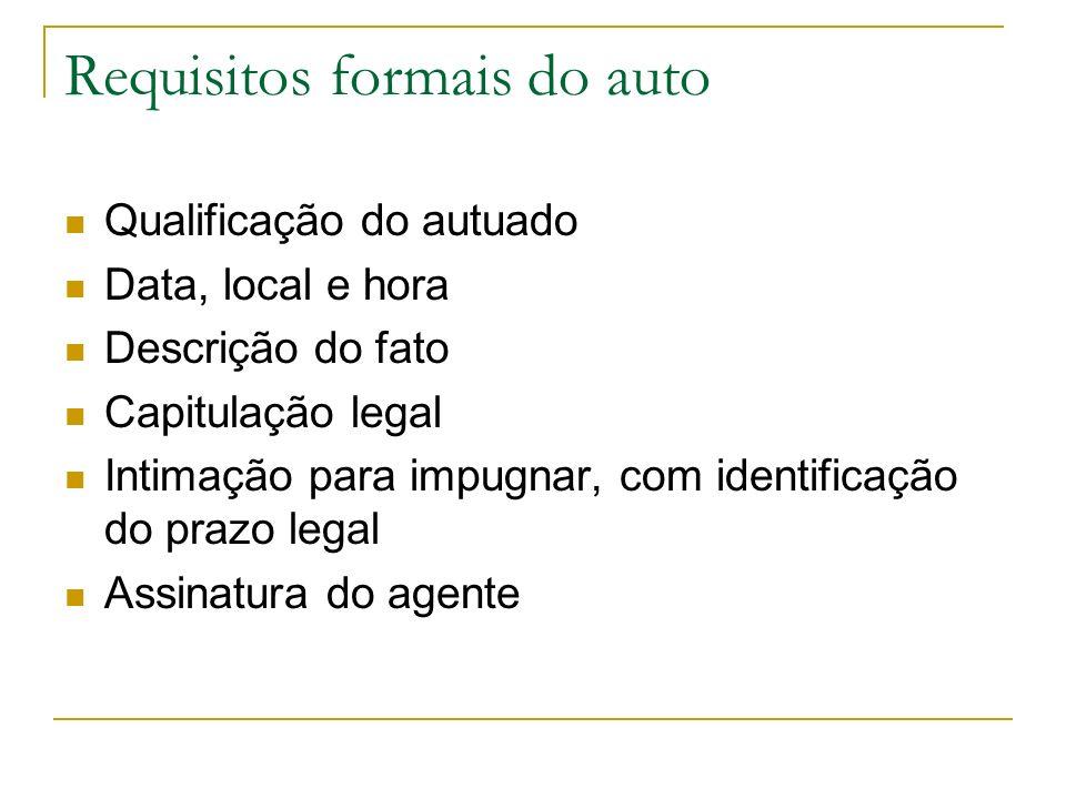Requisitos formais do auto