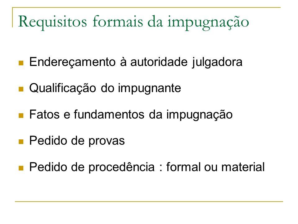 Requisitos formais da impugnação