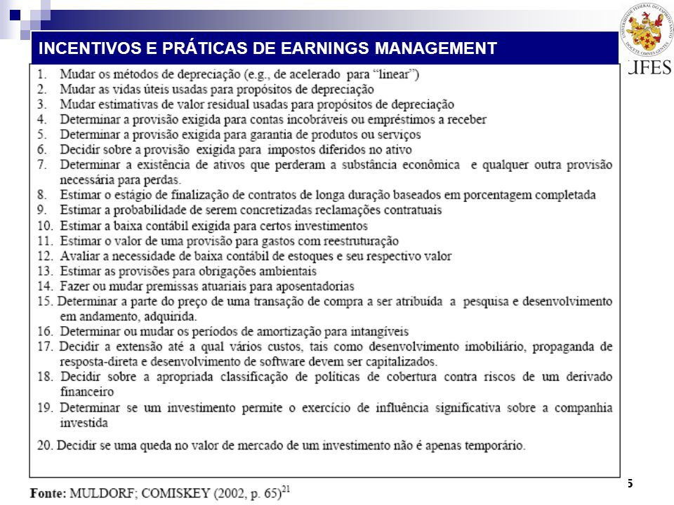 INCENTIVOS E PRÁTICAS DE EARNINGS MANAGEMENT