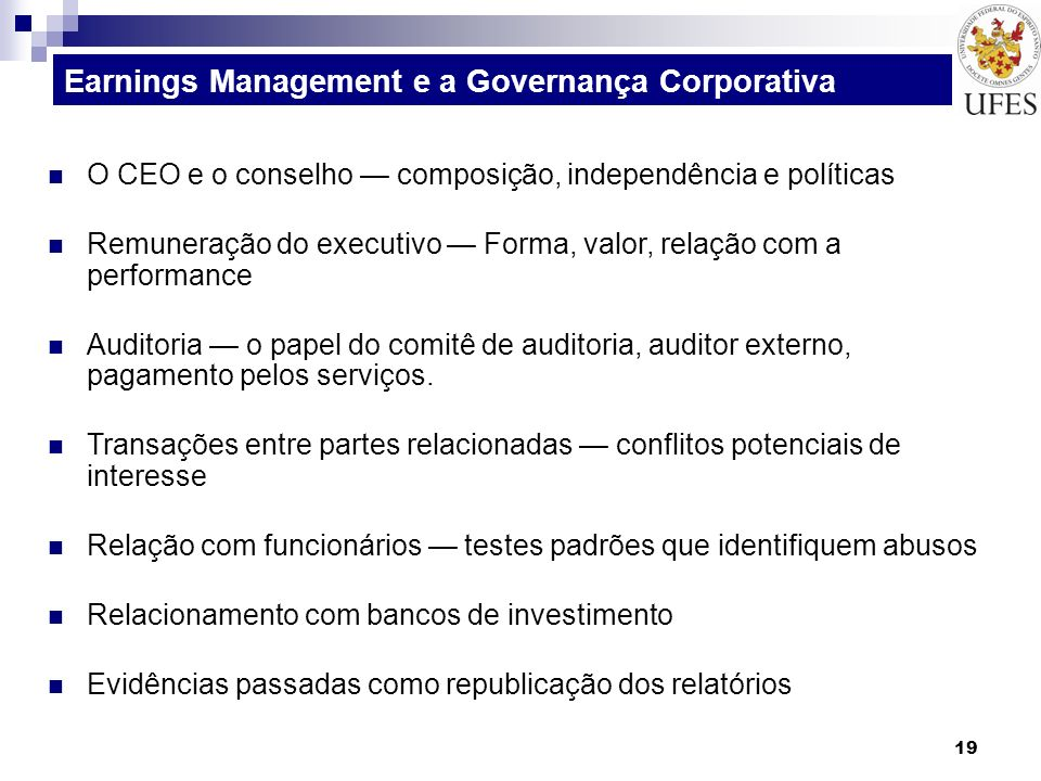 Earnings Management e a Governança Corporativa