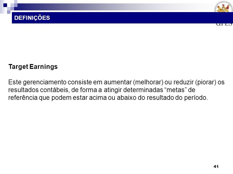 DEFINIÇÕES Target Earnings.