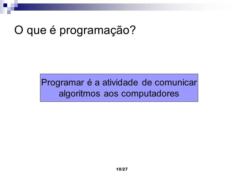 O que é programação Programar é a atividade de comunicar