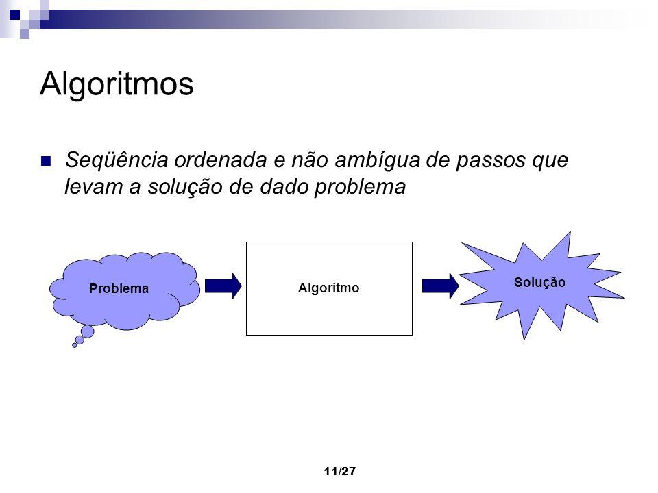 Algoritmos Seqüência ordenada e não ambígua de passos que levam a solução de dado problema. Solução.