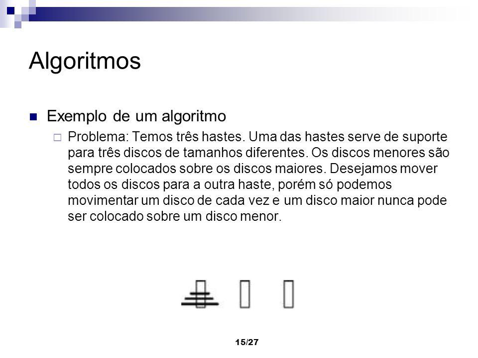 Algoritmos Exemplo de um algoritmo