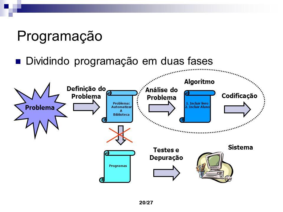 Programação Dividindo programação em duas fases Algoritmo Definição do