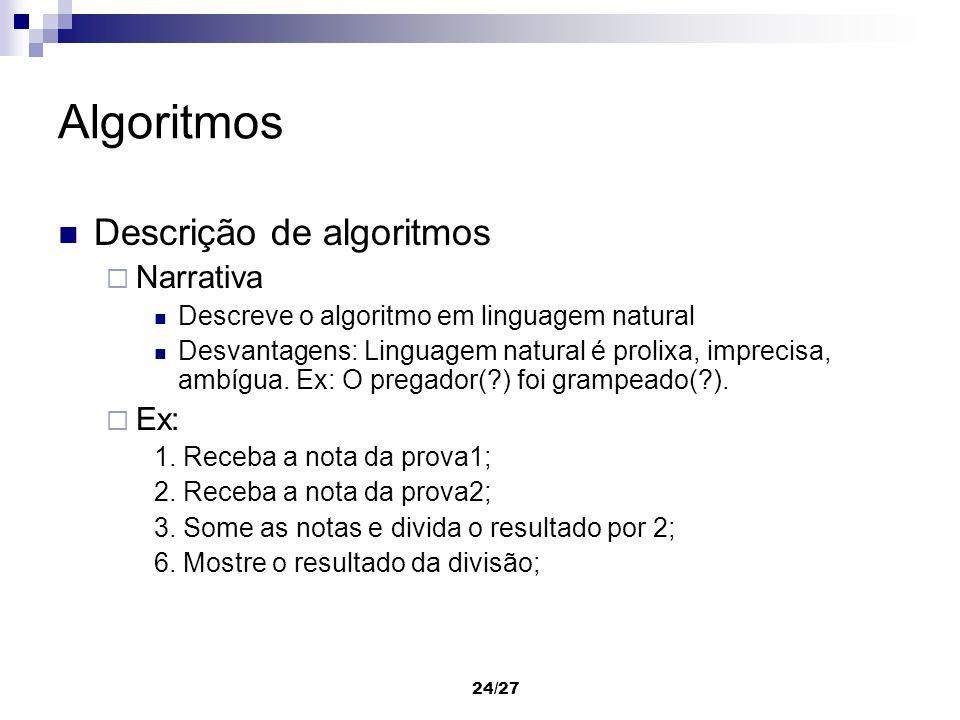 Algoritmos Descrição de algoritmos Narrativa Ex: