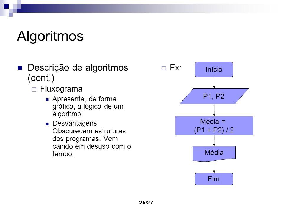Algoritmos Descrição de algoritmos (cont.) Ex: Fluxograma Início