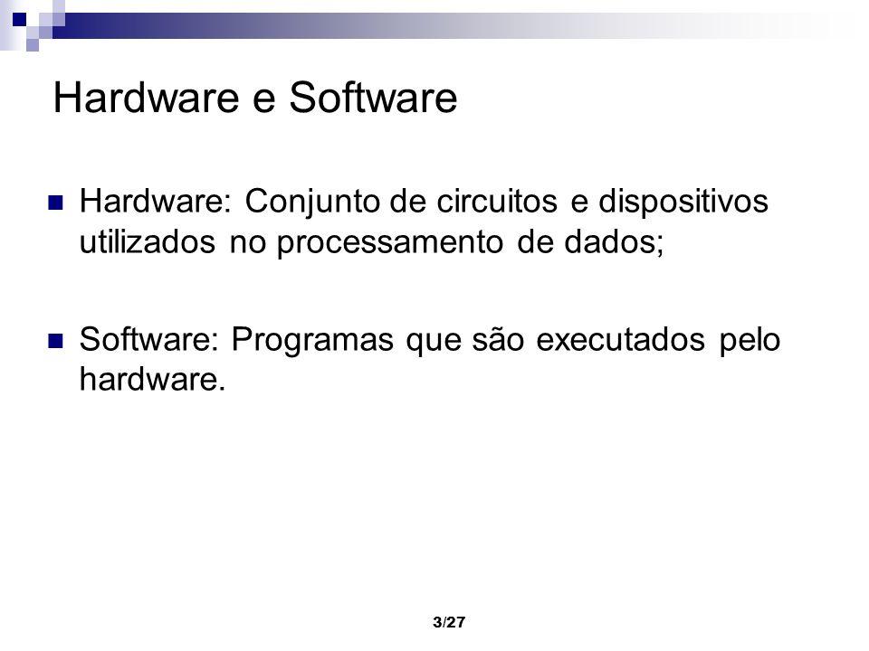 Hardware e Software Hardware: Conjunto de circuitos e dispositivos utilizados no processamento de dados;