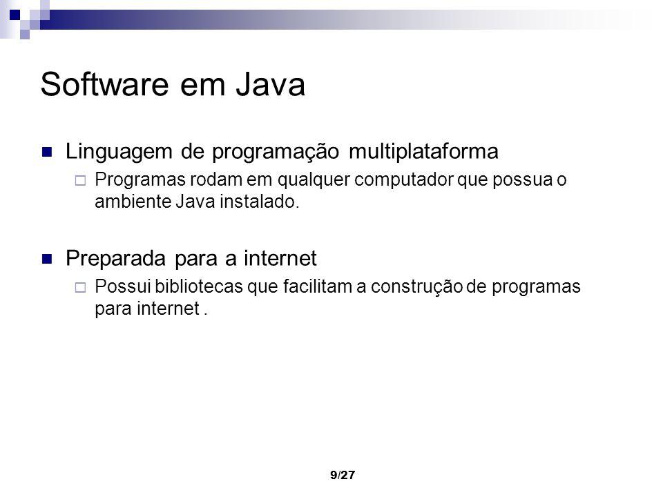 Software em Java Linguagem de programação multiplataforma