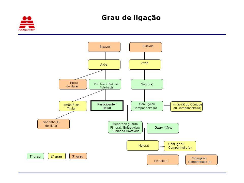 Grau de ligação Bisavós Avós Cônjuge ou Companheiro (a) Genro / Nora