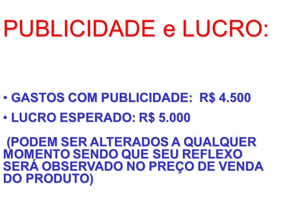 PUBLICIDADE e LUCRO: GASTOS COM PUBLICIDADE: R$ 4.500