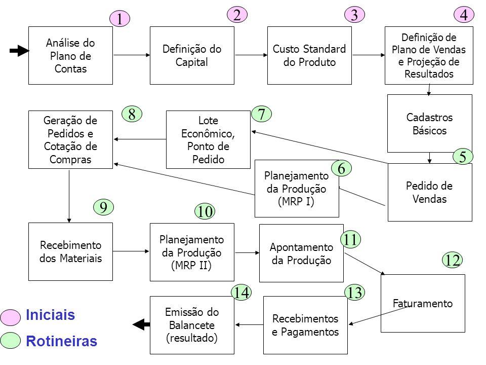 2 3. 4. 1. Análise do Plano de Contas. Definição do Capital. Custo Standard do Produto. Definição de Plano de Vendas e Projeção de Resultados.