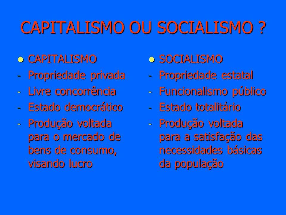 CAPITALISMO OU SOCIALISMO