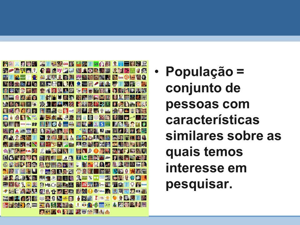 População = conjunto de pessoas com características similares sobre as quais temos interesse em pesquisar.