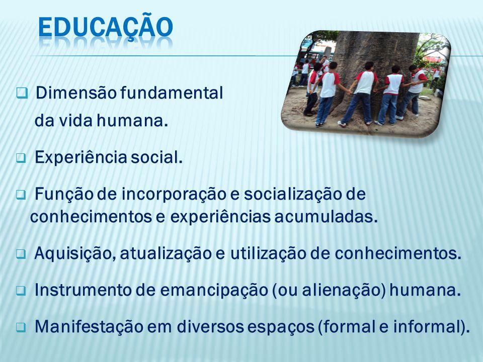 EDUCAÇÃO Dimensão fundamental da vida humana. Experiência social.