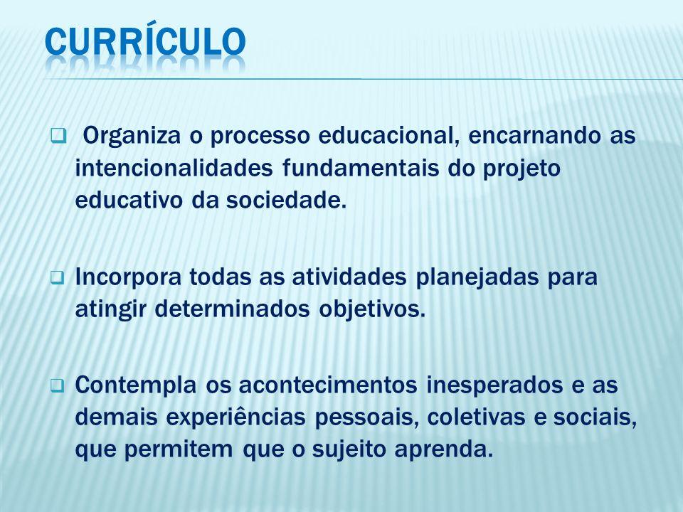 CURRÍCULO Organiza o processo educacional, encarnando as intencionalidades fundamentais do projeto educativo da sociedade.