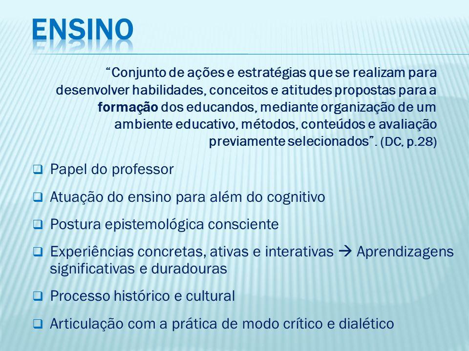ENSINO Papel do professor Atuação do ensino para além do cognitivo