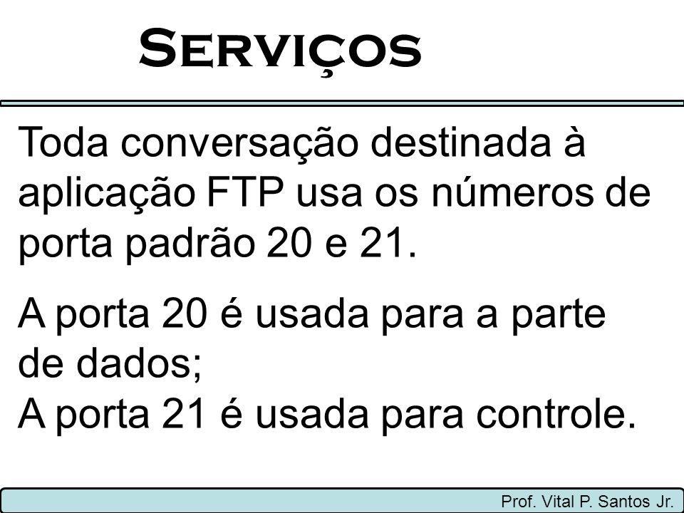 Serviços Toda conversação destinada à aplicação FTP usa os números de porta padrão 20 e 21. A porta 20 é usada para a parte de dados;