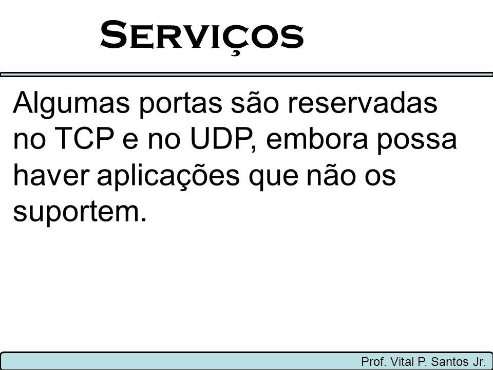Serviços Algumas portas são reservadas no TCP e no UDP, embora possa haver aplicações que não os suportem.