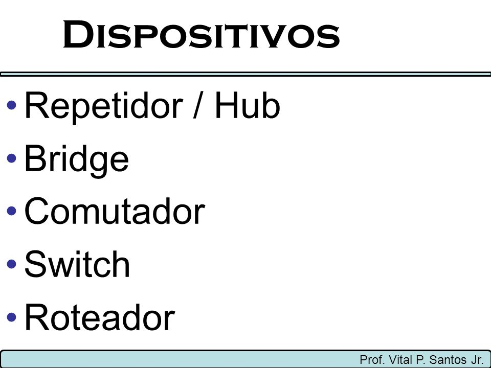 Dispositivos Repetidor / Hub Bridge Comutador Switch Roteador