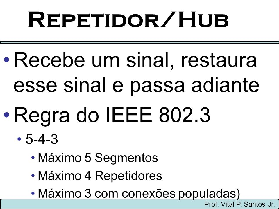 Repetidor/Hub Recebe um sinal, restaura esse sinal e passa adiante