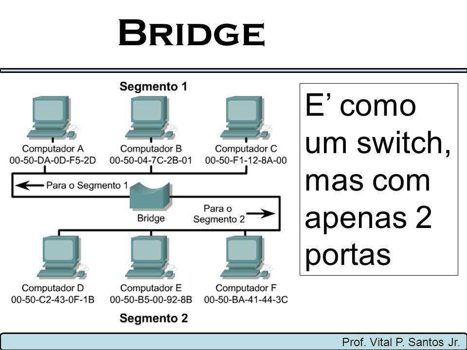 Bridge E' como um switch, mas com apenas 2 portas